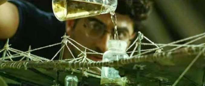 Ayushmann Khurrana mixing chemicals to make his airplane