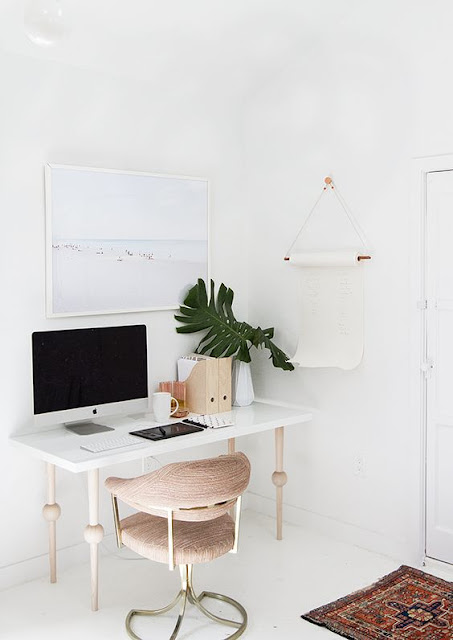 All white work space