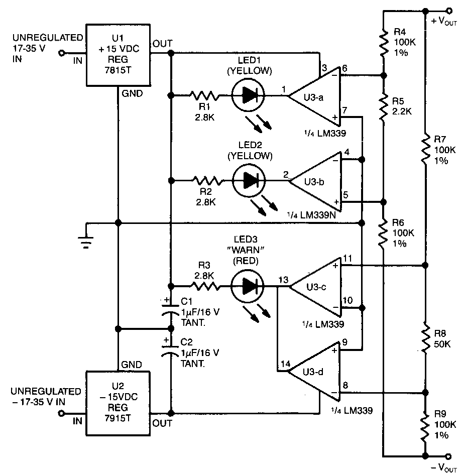 Short Circuit Protection For Balanced Supply Rails Circuit Schematic