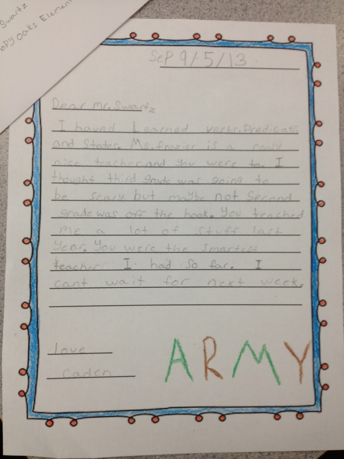 3RD GRADE ANCHOR PAPERS