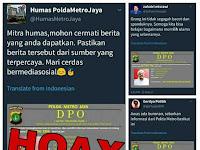Hoax DPO Polda Metro Jaya Bergambar Habib Rizieq