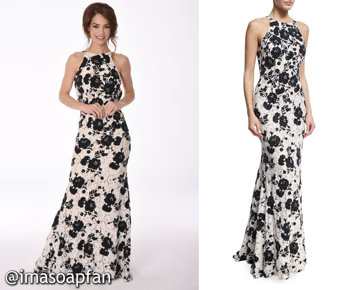 Elizabeth Webber, Rebecca Herbst, Black and White Floral Lace Gown, Jovani, Nurses Ball, GH, General Hospital, Season 55