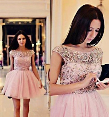 A-line Scoop Neck Short/Mini Tulle Beading Prom Dresses