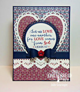 Our Daily Bread Designs Stamp Set: God Verses 2, Custom Dies: Fancy Circles, Pierced Circles, Ornate Hearts, Beautiful Borders, MeGod Verses 2, Fancy Circles, Pierced Circles, Ornate Hearts, Beautiful Borders, Medium Bow, Paper Collection: Americana Quilt
