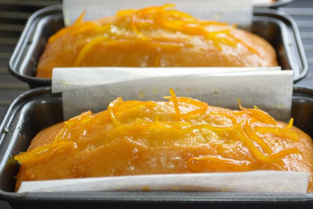 Orange Drizzle Mini Loaf Cake Topped with Caramelised Zest