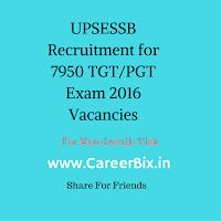 UPSESSB Recruitment for 7950 TGT/PGT Exam 2016 Vacancies