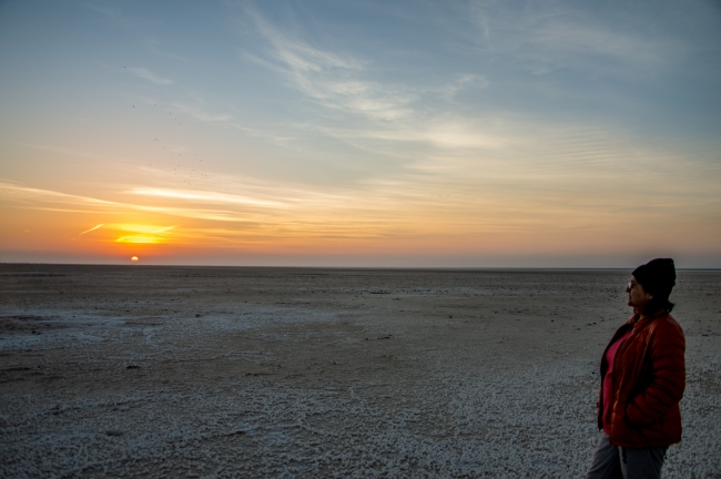 Anupma watching the Sunrise at Dholavira