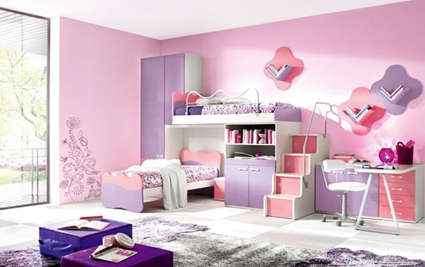10 Model Tempat Tidur Minimalis Untuk Anak Perempuan Bertema Pink ! - Modern