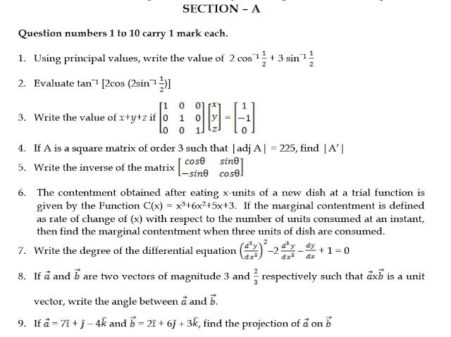 SAMPLE QUESTION PAPER  MATHEMATICS CLASS 12,Previous year question paper for class 12