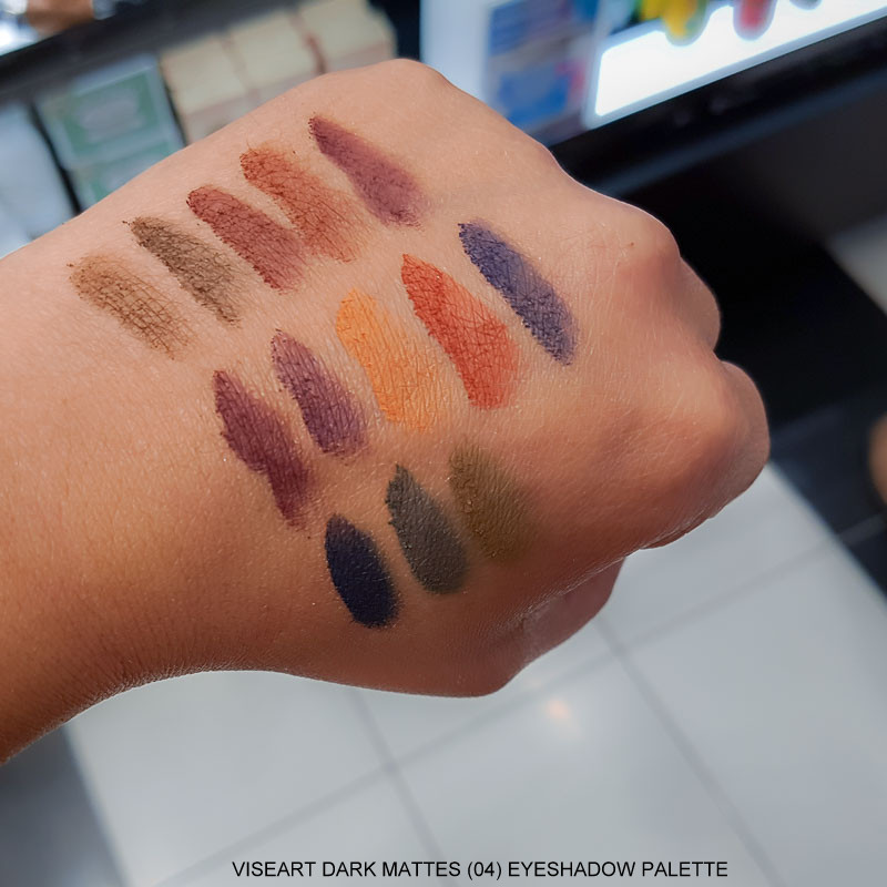 viseart dark mattes 04 eyeshadow palette swatches