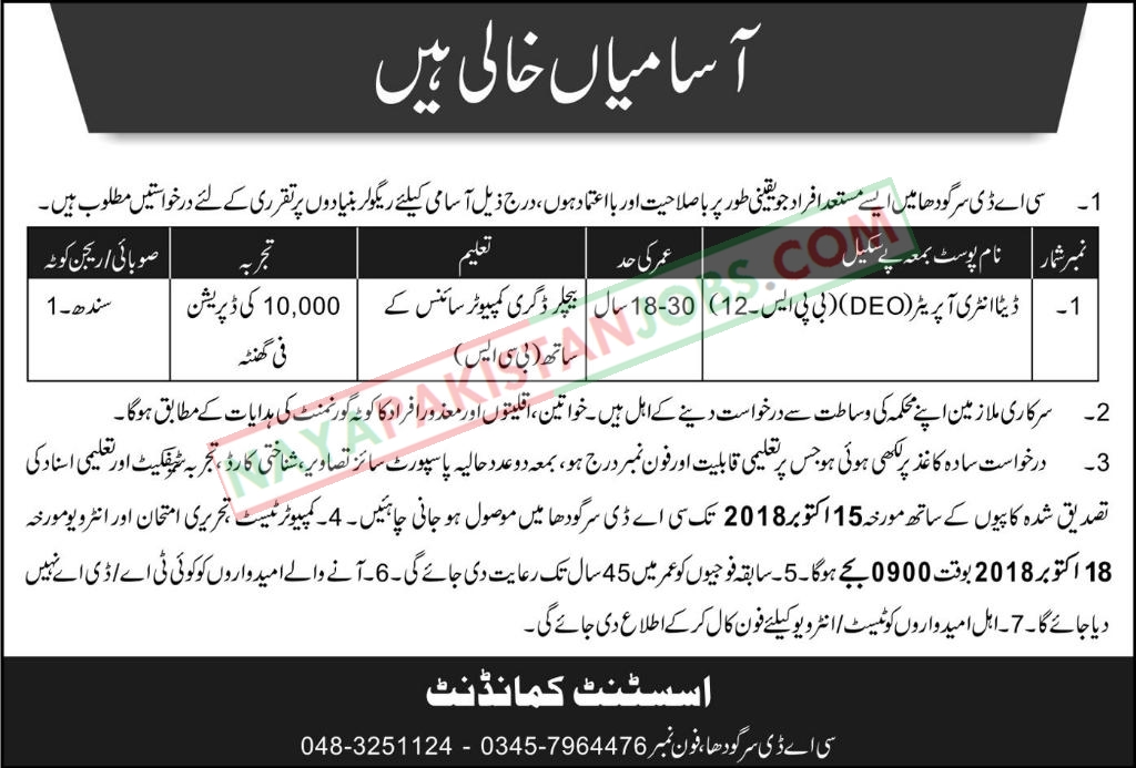 Latest Vacancies Announced in Pakistan Army at Central Ammunition Depot CAD Sargodha 30 September 2018 - Naya Pak Jobs