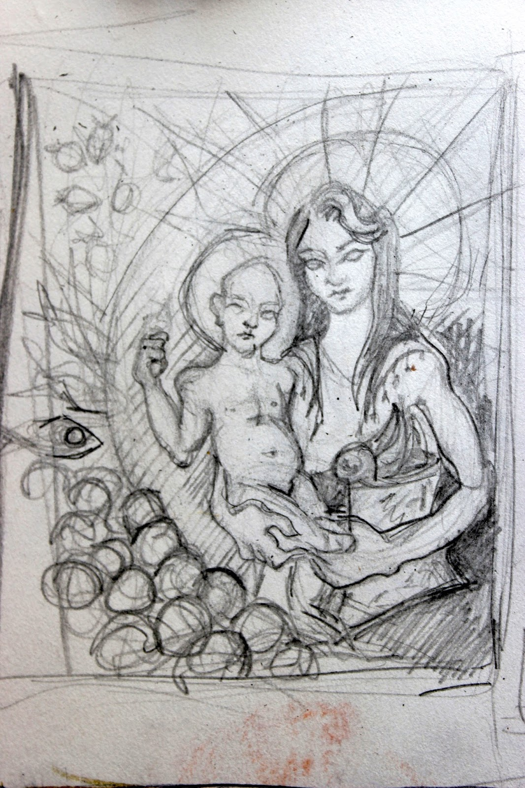 Drawing Sketch Illustration Pencil Sketchpad Notebook Colour Madonna and Child