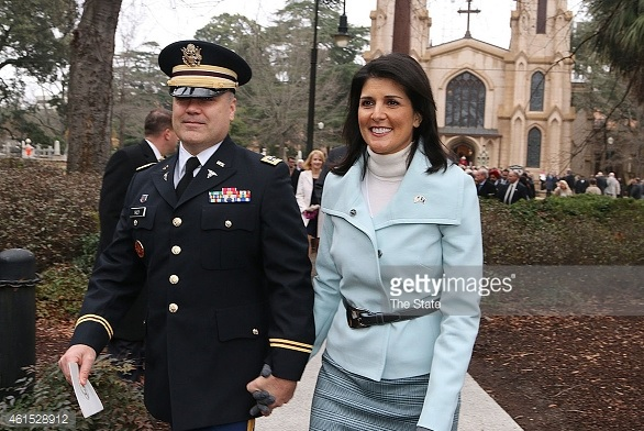 Nikki Haley and her husband going to the church