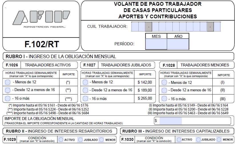 nuevo formulario 102 rt interactivo On nuevo formulario empleada domestica 2016