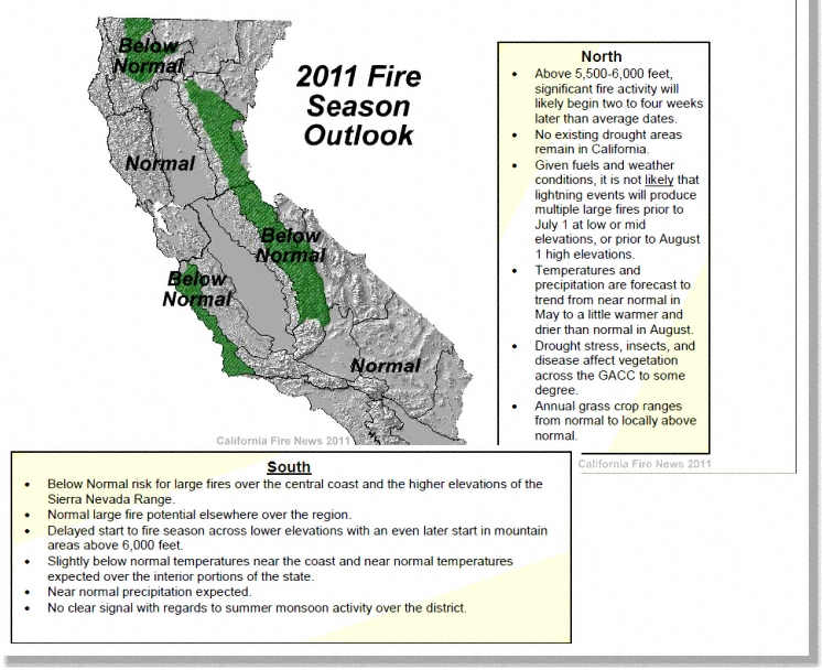 Nifc Large Fire Map.Fire Season Nifc 2011 California Wildfire Seasonal Assessment