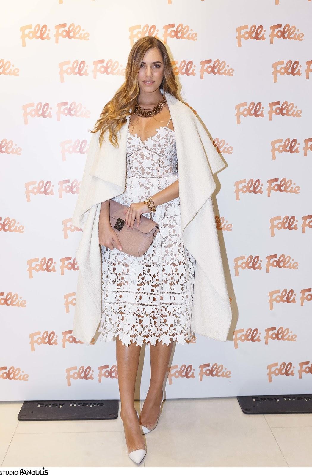 c66d8bcbca Amber Le Bon (wearing  follifollie jewellery and bag