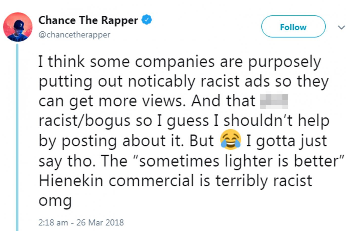 34bb9004345 Chance the Rapper Calls Out Heineken for  Horribly Racist  Ad ...