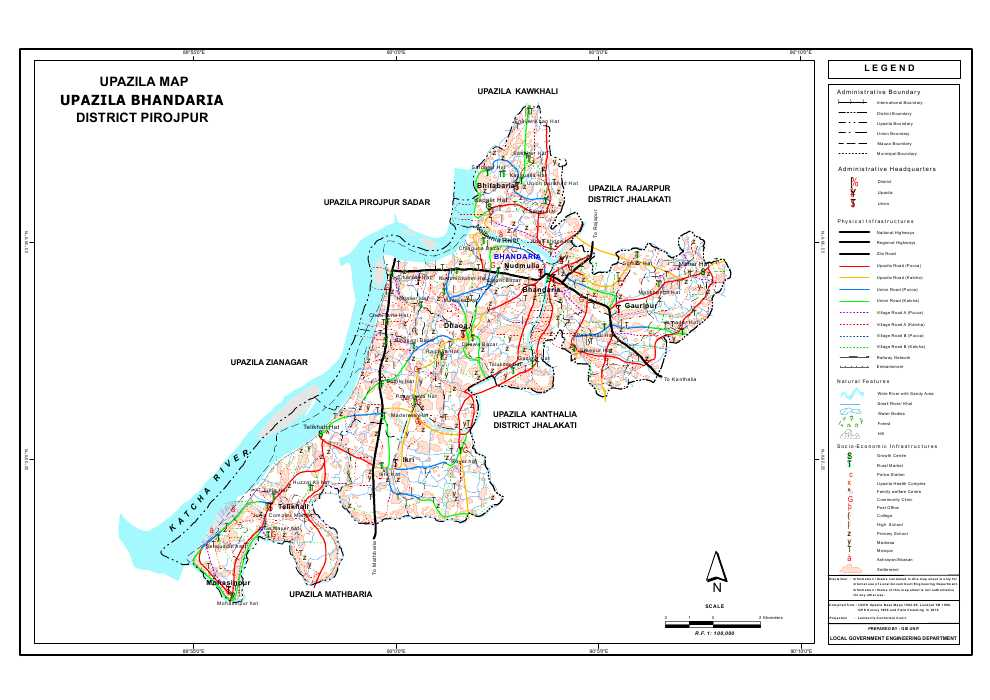 Bhandaria Upazila Map Pirojpur District Bangladesh