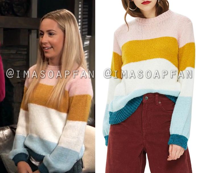Josslyn Jacks, Eden McCoy, Multicolored Striped Sweater, General Hospital, GH