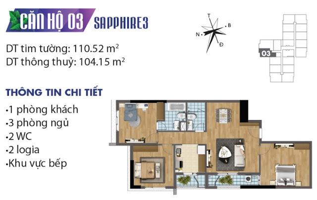 Thiết kế căn hộ số 3 tòa Sapphire 3