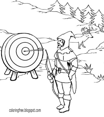 Free Printable Archery Games Medieval Game Play Knight Bowman Coloring Pages For Older Kids