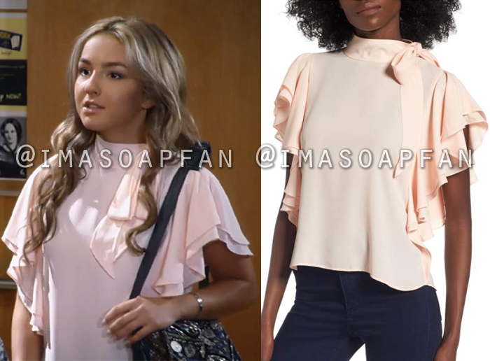 Kristina Davis, Lexi Ainsworth, Ruffled Pink Tie Neck Top, General Hospital, GH