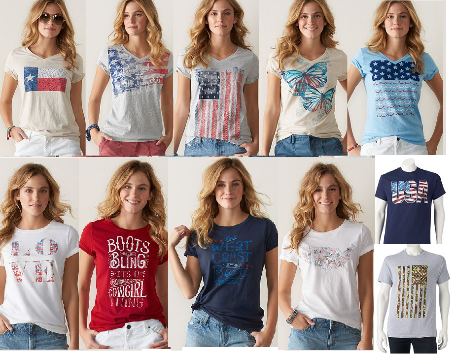 a7029452 13307494_1002233113165540_3723318456145187405_n. Men's and Women's  Patriotic USA and Other T-Shirts $3.49 Each + Free Shipping - Kohl's  Cardholders Only.