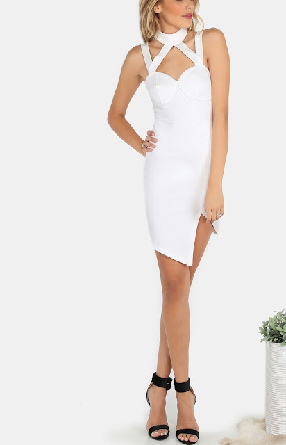 Long White Halter Neck