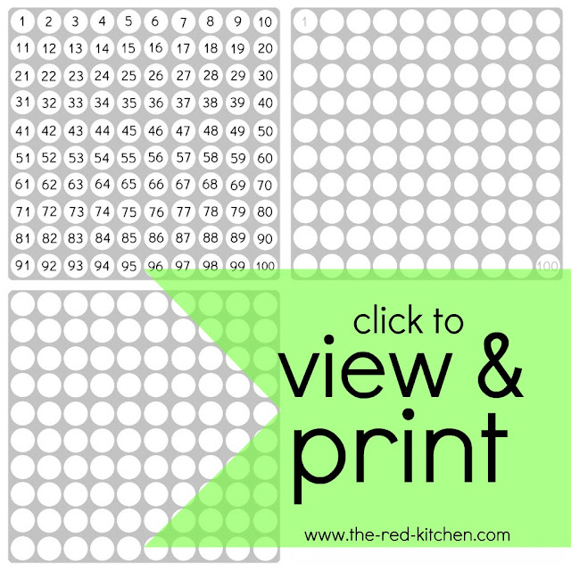 the red kitchen 1-100 Charts (free printables!)