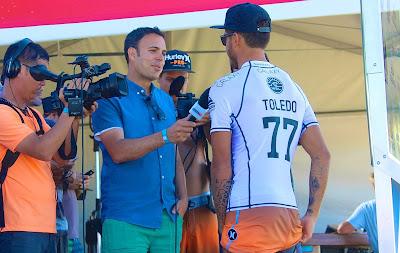 Cameraman and Media with World Champion Surfer Toledo