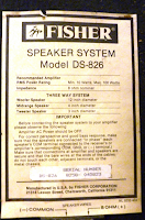 Fisher+DS-826+Speaker+Vintage specs