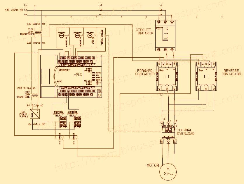 Electrical Wiring Diagram Forward Reverse Motor Control and Power Circuit with PLC Connection