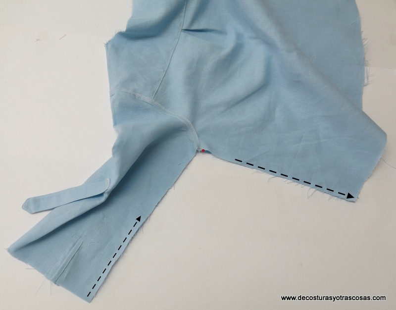 como coser costura lateral y manga en una camisa