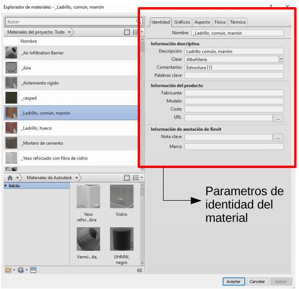 Captura de pantalla: etiqueta de material