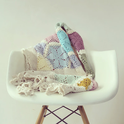 ByHaafner, crochet, hexagon throw, blanket, pastel, crochet border. Eames chair