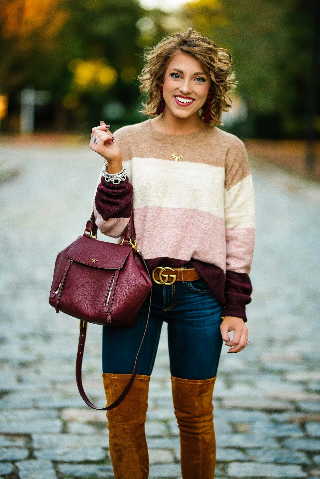 Pink & Burgundy Color Block Sweater - Something Delightful Blog