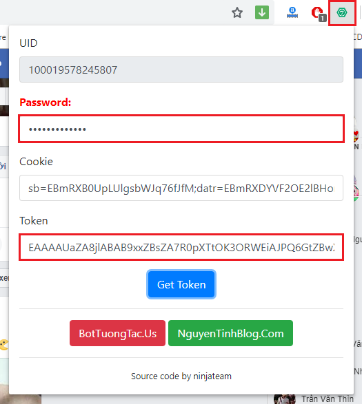 Tiện ích lấy token full quyền không bị checkpoint trên trình duyệt máy tính, code f12 lấy token, lấy token bằng tiện ích ninjateam, lấy token f12