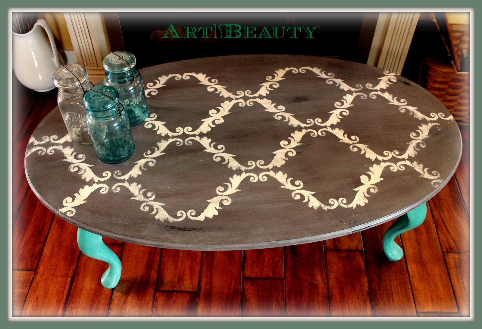 Quick Stenciled Coffee Table Makeover