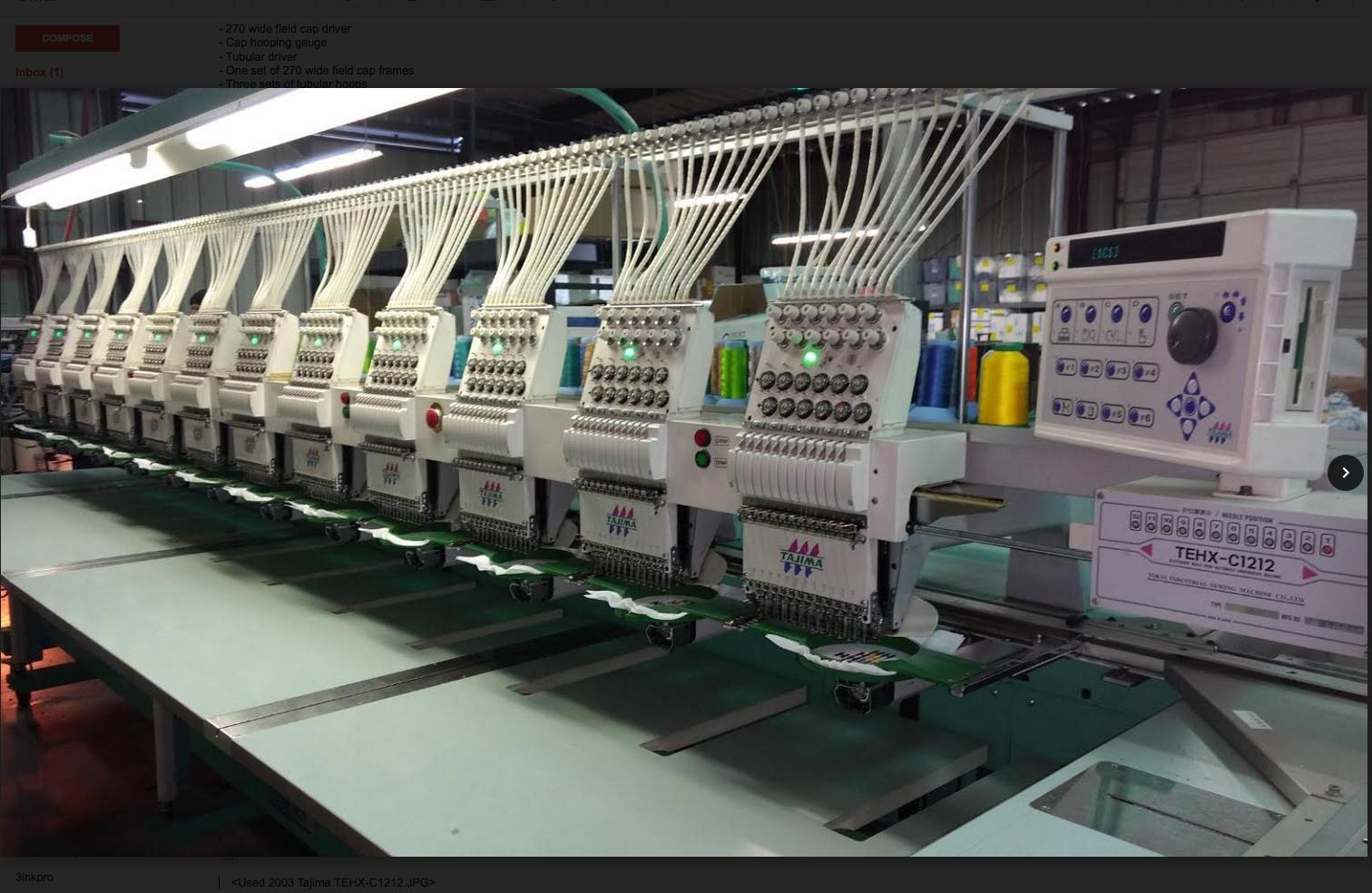Reconditioned Embroidery Equipment Used 2003 Tajima Tehx C1212