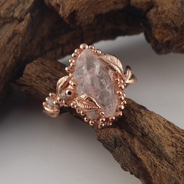 Leaf Morganite Engagement Ring In Rose Gold Victorian Stackable Rings