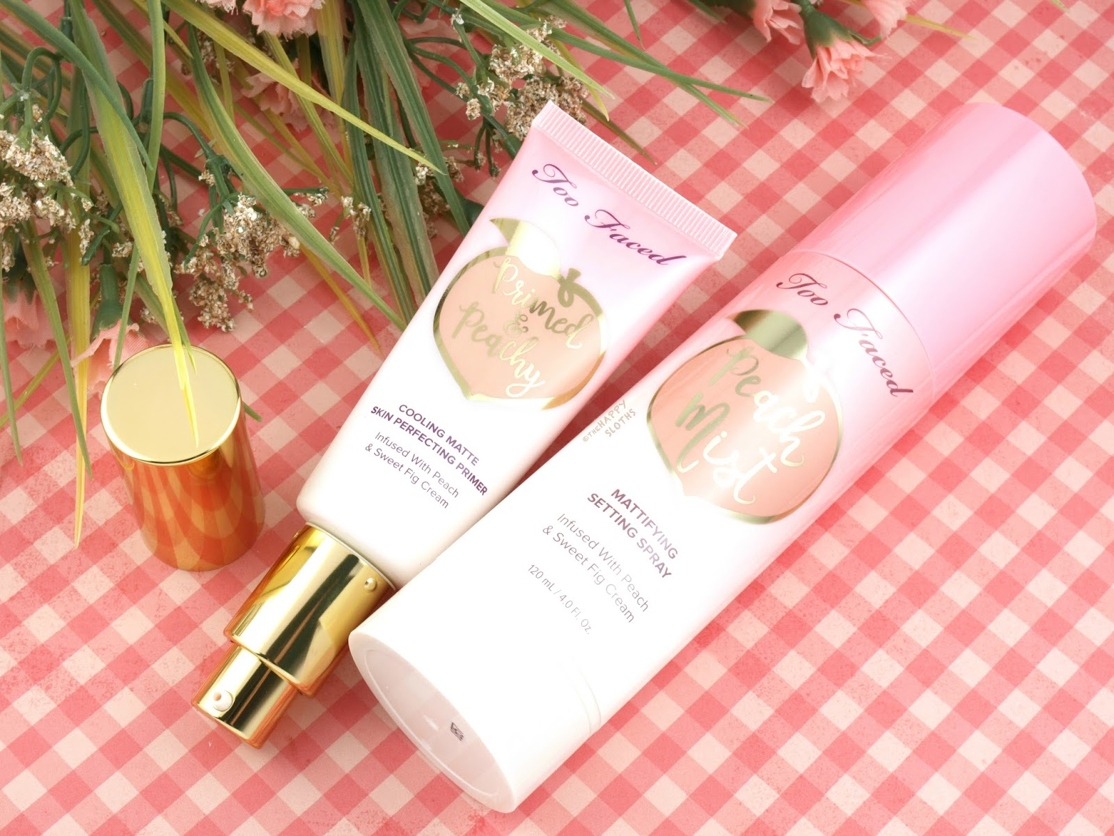Too Faced Peaches & Cream Collection | Primed & Peachy Primer & Peach Mist Mattifying Setting Spray: Review and Swatches