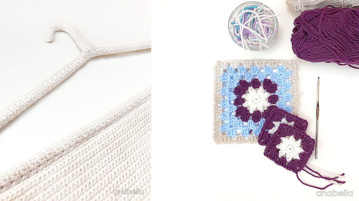 Square based crochet basket with tiny spring flowers | Anabelia ...