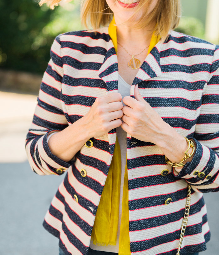 blue and white striped blazer