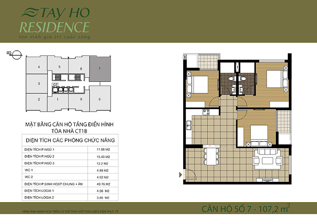 Mặt bằng căn hộ Lake View 1B-Chung cư Tây Hồ Residence