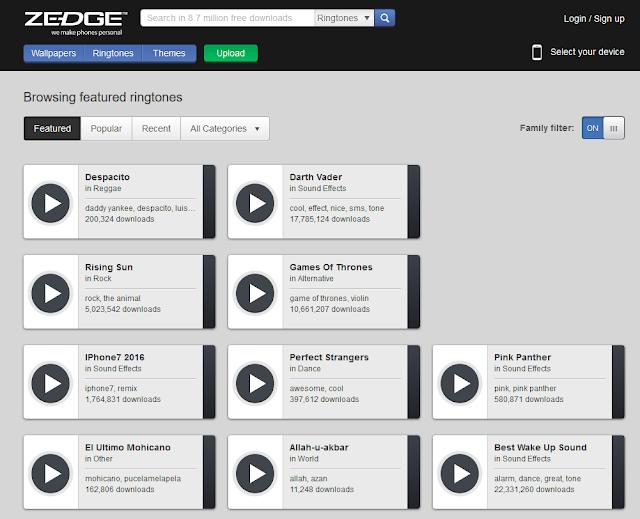 Zedge: una buena página para descargar ringtones gratis