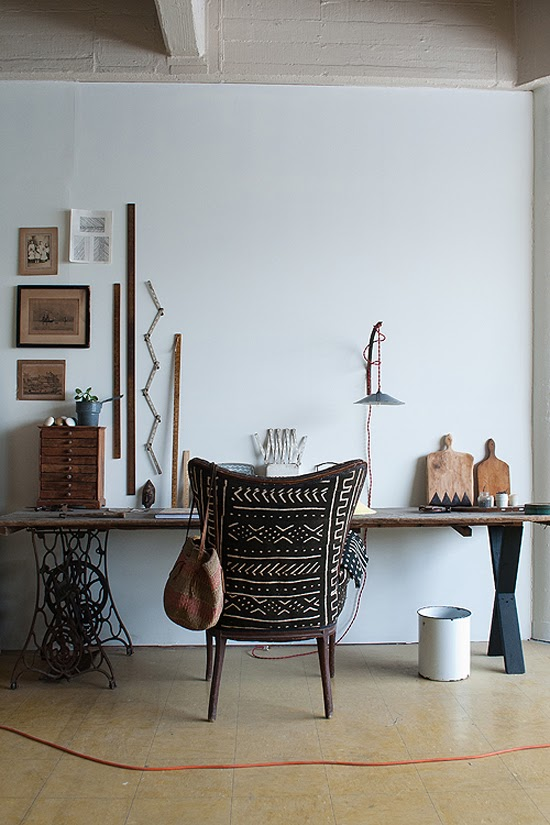 Safari Fusion blog   Obesssion: Mud cloth   Vintage style chair reupholstered in black Bogolan fabric via Design Sponge