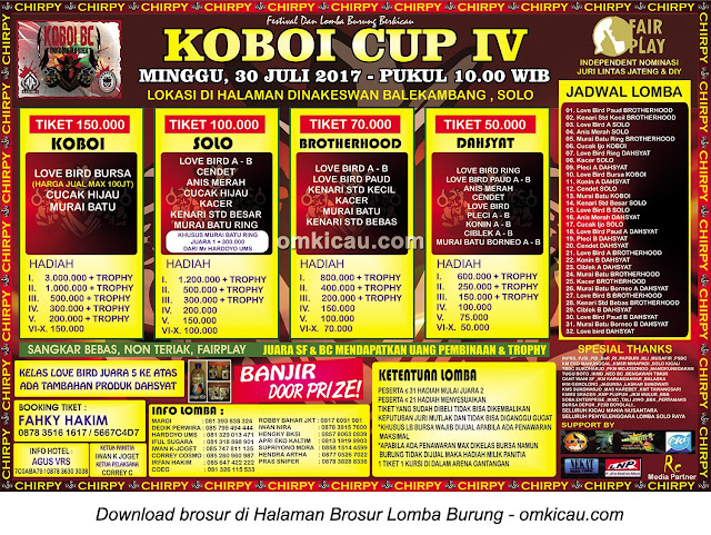 Lomba Burung Berkicau Koboi Cup IV, Solo, 30 Juli 2017