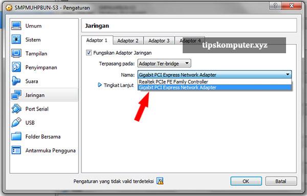 setting adapter jaringan server unbk