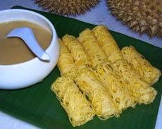 Roti Jala Saus Durian