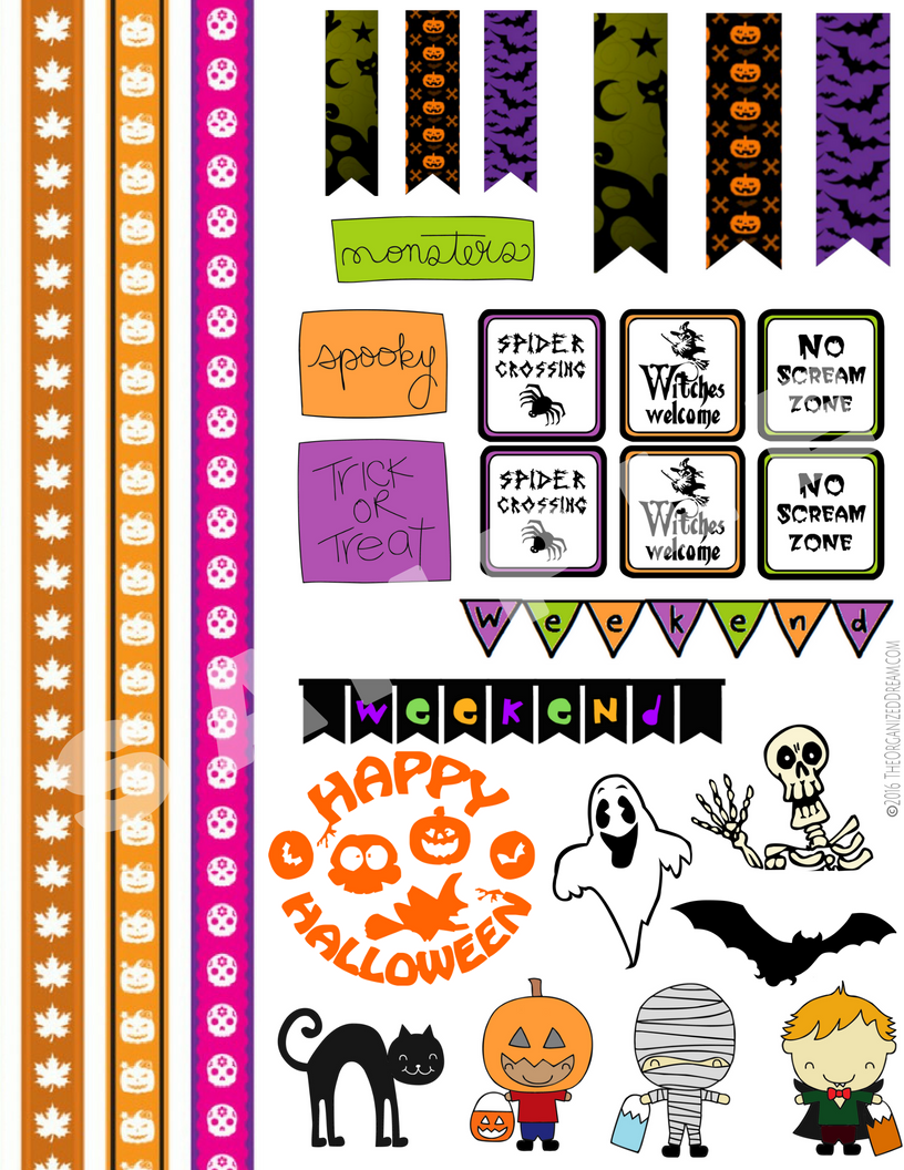 photograph regarding Halloween Stickers Printable referred to as Halloween Planner Sticker Printables - The Well prepared Aspiration